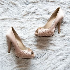 Satin Cream Jeweled Heels